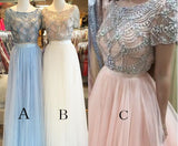 Two piece Bateau Short Sleeve Beading Light Blue Tulle Split Prom Dress with Lace,N501