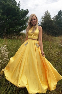 Yellow Satin Two Pieces Long Homecoming Dress with Silver Beading, Prom Dress N2043