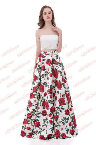 Simple A-line Two Pieces Strapless Sleeveless White Top Floral Skirt Prom Dress,N558