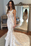 Delicate Square Sleeveless Illusion Back Court Train Lace Mermaid Wedding Dresses N2421