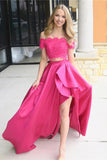 Fuchsia Off Shoulder Prom Dress with Lace, Two Piece Long Satin Formal Dresses N1154