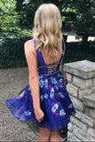 Sexy Royal Blue A-Line V-Neck Backless Short  Prom Homecoming Dress N955