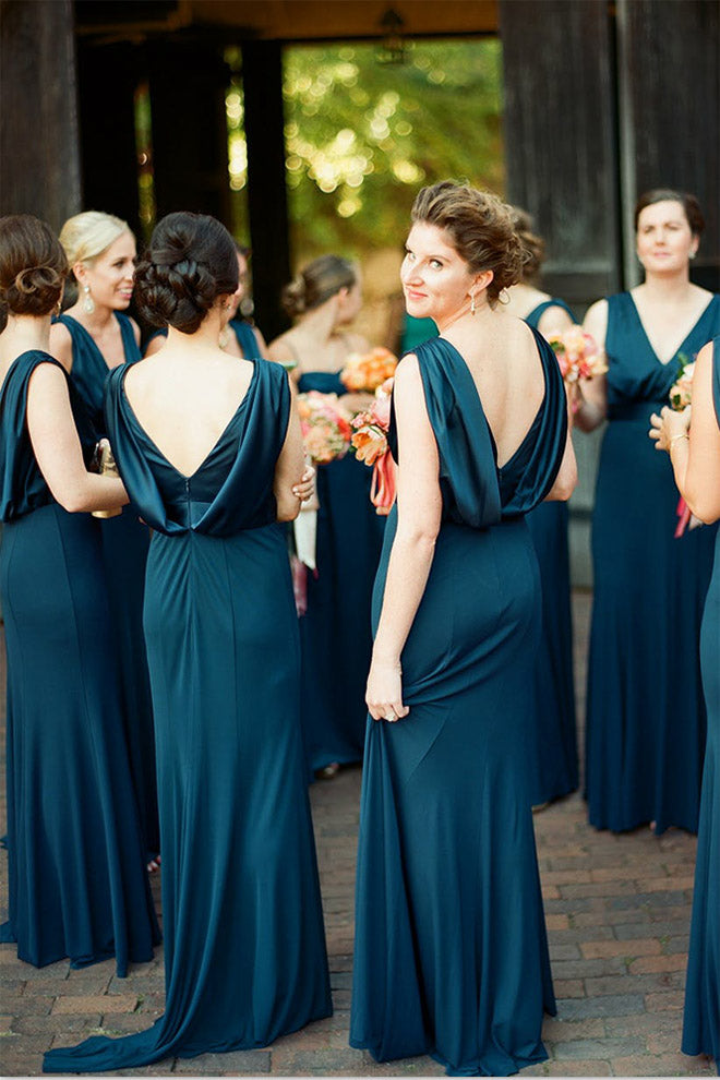 Unique V Neck Sleeveless Bridesmaid Dress, Modern Long Bridesmaid Dress with Pleats