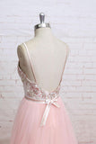 Spaghetti Straps Pink Lace Flora Tulle Sweetheart Backless Wedding Dress,Prom Dress N820