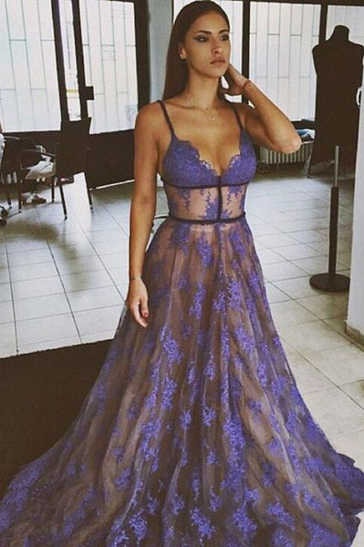 Purple Lace Spaghetti Straps Nude Lining Long Sexy Prom Dress, Long Party Dresses N1712