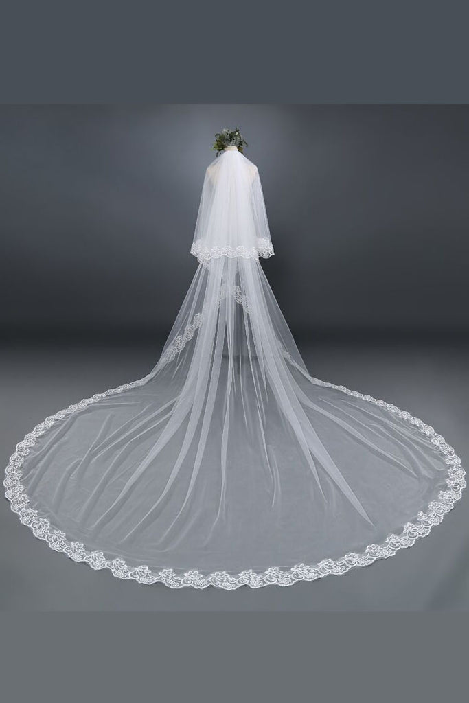 New 3M Two Layers Lace Edge Bridal Wedding Veil Chapel With Comb For Pincess,V014