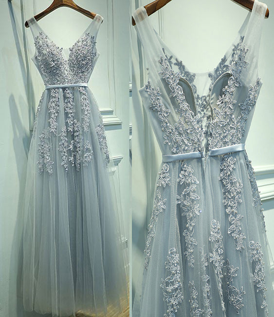 A-Line V-Neck Sleeveless Tulle Prom Dress with Lace Appliques,Long Homecoming Dress,N513