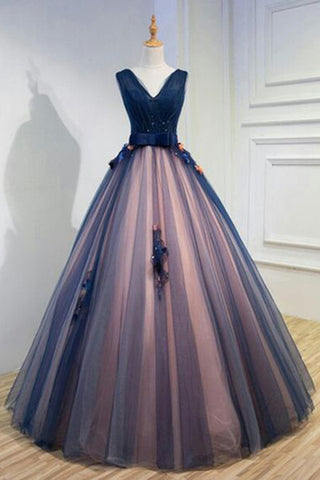 bd350ac9a5 Unique Dark Blue V Neck Sleeveless Appliques Tulle Long Ball Gown Prom  Dresses with Bowknot