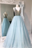 Deep V-neck Light Blue Backless Sleeveless Floor-length Tulle Prom Dress with Beads,Party Dresses,N392