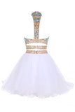 Two Piece Jewel Tulle Homecoming Dress with Beads, White Short Mini Prom Dress N1051