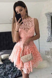 A-Line Short Dropped Pink Homecoming Dress,Mini Sleeveless Lace Cocktail Dress,N118
