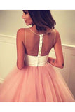 Cheap A Line Sheer Neckline Tulle Short Prom Dress with Appliques, Cute Homecoming Dress N920