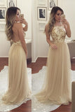 Open Back Halter Straps Prom Dress,Backless Tulle Formal Gown,Formal Dress,N89