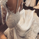 Gorgeous Mermaid Illusion Long Sleeves Tulle Appliques Wedding Dress,Beach Wedding Dress,N307