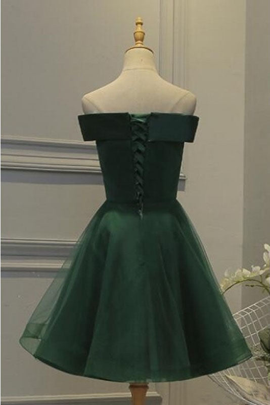 Dark Green Off the Shoulder Tulle Homecoming Dress, A Line Appliqued Short Prom Dress N1036