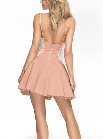 Stylish A-Line Spaghetti Straps Short Homecoming/Prom Dress with White Lace Applique,N219