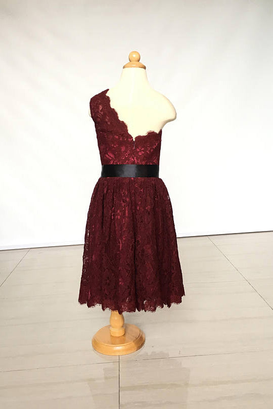 A Line One-shoulder Burgundy Lace Dress for Girls and Baby, Flower Girl Dress with Sash F031