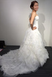 A-line White Princess Strapless Sweetheart Tulle Long Beach Wedding Dress,Bridal dresses,N408