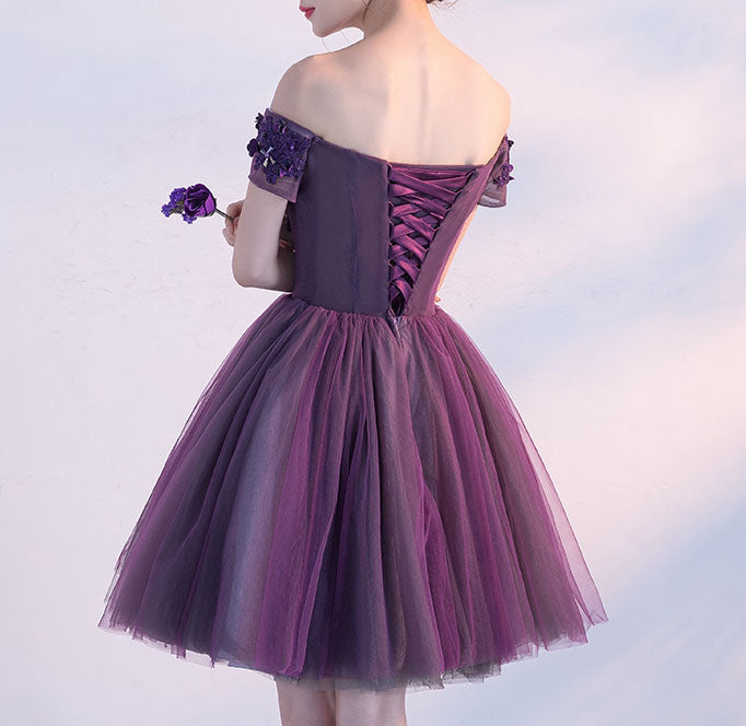 Grape A-line Off the Shoulder Tulle Short Homecoming Dress with Crystals,Mini Prom Dress,N368