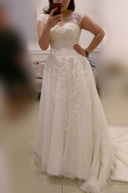 A-line Plus Size Ivory Cap Sleeves Sweep Train Lace Appliques Tulle Wedding Dresses,N447