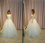Elegant Strapless Floor-length Ball Gown Wedding Dress with Flowers,Prom Gown,N436