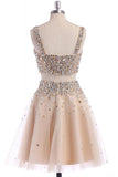 Two Piece Strap Homecoming Dress with Crystals, A Line Tulle Short Party Dress N1028