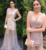 Pearl Pink Unique V Neck Tulle Prom Dress with Pearls, Sexy See Through Evening Dress N1209
