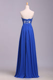 Elegant Strapless Chiffon Evening Dress with Lace Appliques, Long Prom Dress N1204