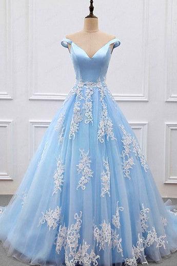 Sky Blue V-neck A-Line Lace Appliques Tulle Prom Dresses,Formal Women Dress,N418