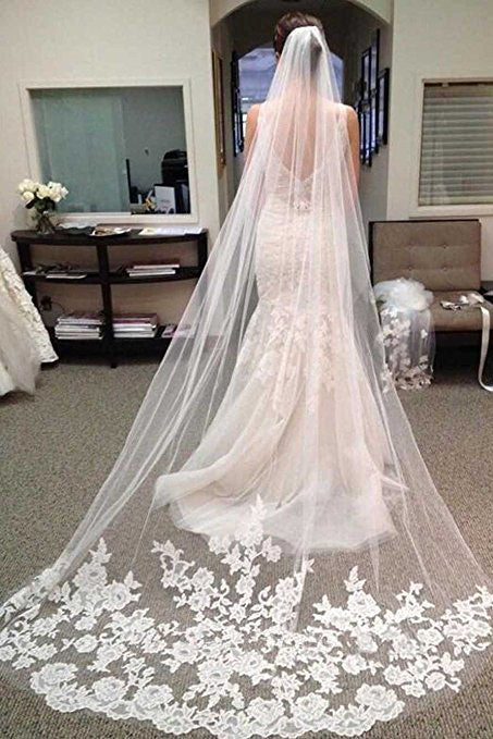 Ivory Venusvi Lace Edge Chapel Length Wedding Bridal Veil+Comb,Bridal Veil,V002