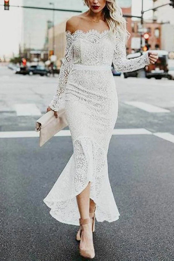 High Low Long Sleeves Mermaid Lace Wedding Dress, Off the Shoulder Lace Bridal Dress N2257