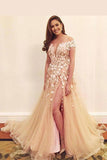 Floor-length V-neck Off-the-shoulder Tulle Applique Split Prom Dress,Sexy Evening Dress,N380