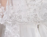 Two Tiers New Lace Appliques Tulle Bridal Veil for Wedding with Rhinestone+Comb,V004