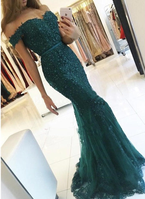 Dark Green Off-the-shoulder Mermaid Tulle Prom Dress with Beads,Evening Gown,N432