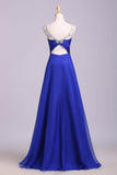 Royal Blue Floor Length Chiffon Prom Dress with Rhinestone Belt, Evening Dress with Pleats N1203