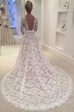 Elegant Ivory A-line Bateau Lace Long Sleeve Backless Wedding Dress With Court Train,N347