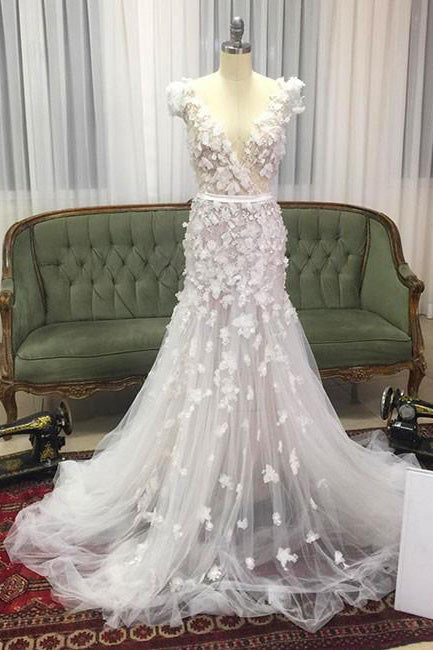 Unique V-neck Tulle Wedding Dress with Hand-made Flowers,Tulle Prom dress,N383