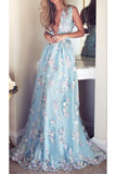 A-line Blue Deep V Neck Sleeveless Floor-length Appliques Tulle Prom Dress,Evening Dress,N397