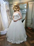 White Sweetheart Ball Gown Beading Lace Appliques Court Train Wedding Dress,N438