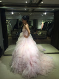 Pink Strapless Sweetheart Ball Gown Layers Wedding Dress,Princess Prom Dress,N471