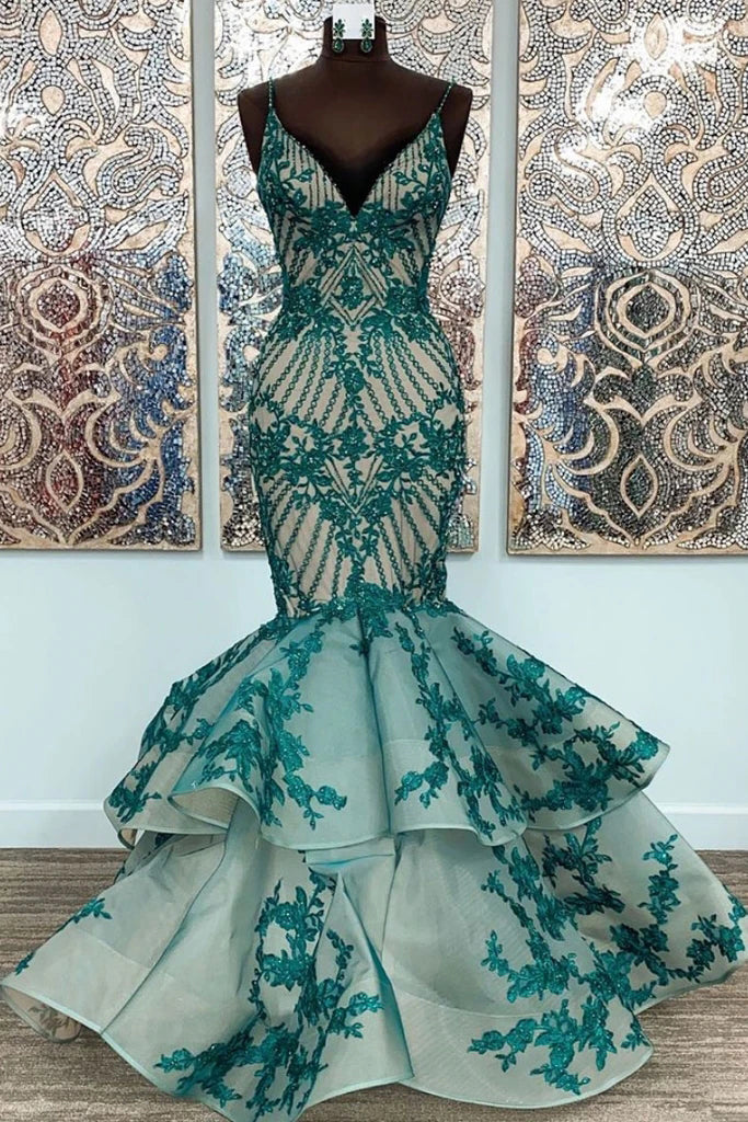 Mermaid Straps Lace Appliqued Long Formal Dress, Unique Floor Length Prom Gown N2650