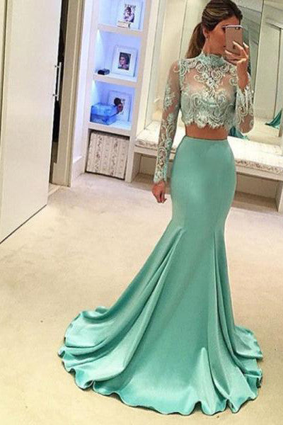 Two Pieces High Neck Long Sleeve Lace Prom Dresses,Sexy Mermaid Evening Dress N64
