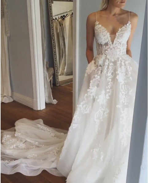 Deep V neck Wedding Dress,Lace Wedding Dress,Spaghetti Straps Beach Wedding Dress N74