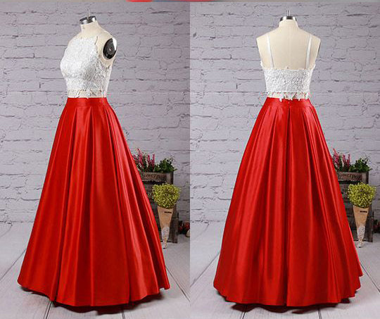 Fashion Red Two Piece Square Neck Satin with Appliques Lace Prom Dress Long,N426