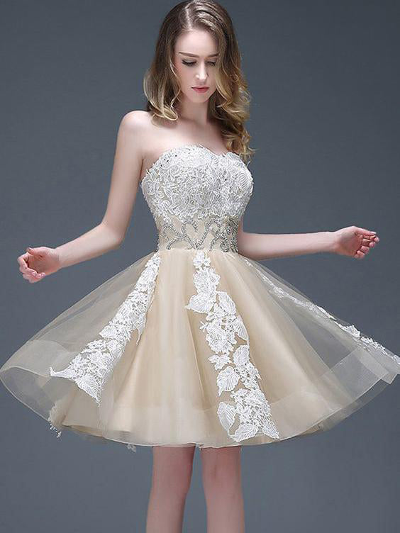 Strapless Sweetheart Appliqued Homecoming Dress with Beading Waist,Elegant Prom Dresses,N259