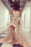 Light Blush Pink Strapless High Low Appliques Prom Dress,Tulle Long Evening Dress,N328
