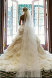 Gorgeous Ivory Sweetheart Sweep Train Layers Ruffles Wedding Dresses,Princess Bridal Dress,N478