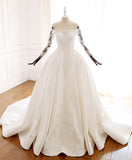 Ball Gown Long Sleeves Wedding Dress with Lace Appliques, Satin Bridal Gown N2582