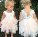 Adorable A-line Knee length Pink Tulle Little Flower Girl Dress with Lace,Backless Party Dress,F010