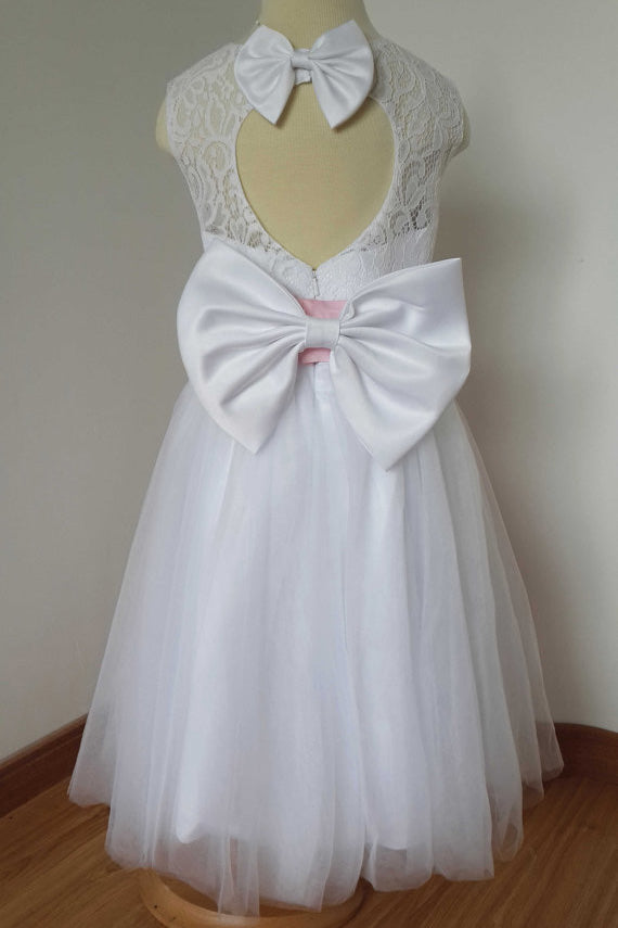 A Line Floor-length White Lace Tulle Flower Girl Dress with Pink Bow Sash F023